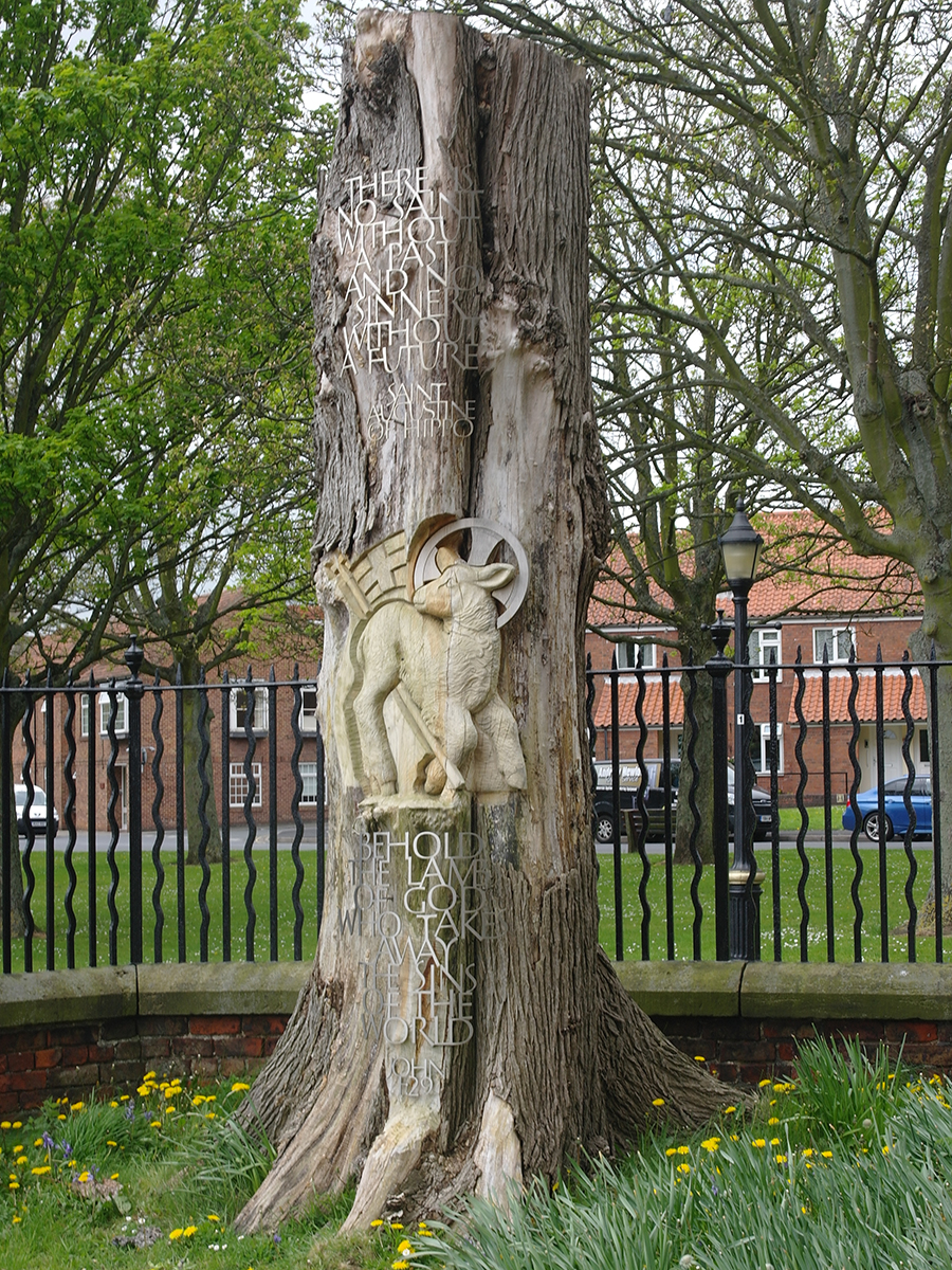 Lamb of God Tree Carving