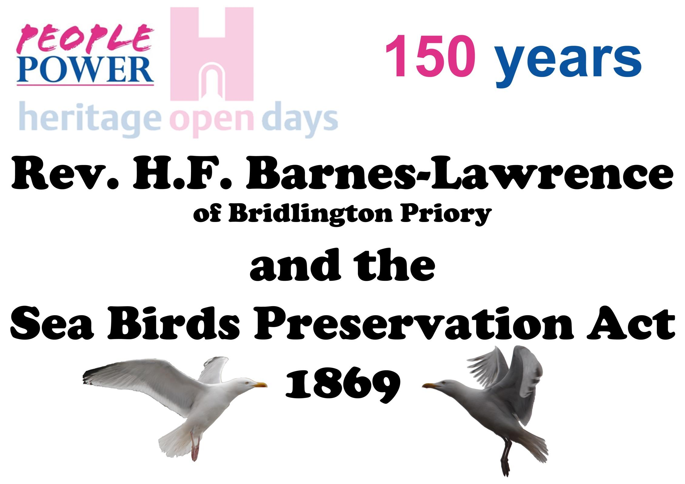 Title page for the PDF booklet on Rev. Henry Barnes-Lawrence and the Seabird Preservation Act