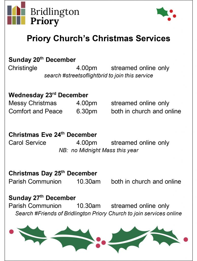 Bridlington Priory - Christmas 2020 Services